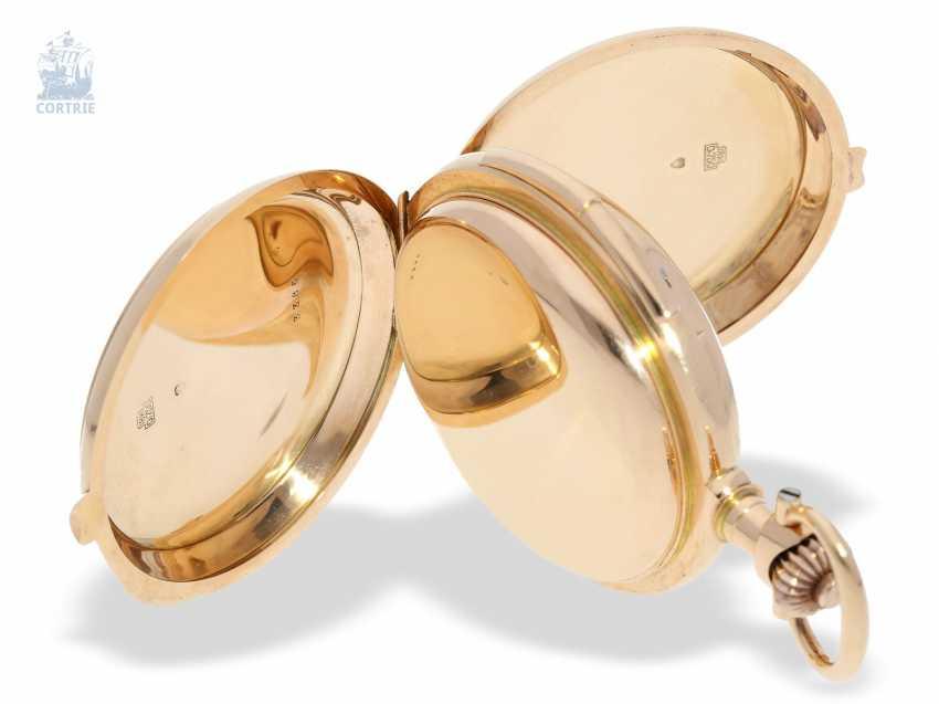 """Taschenuhr: bedeutende Le Coultre Goldsavonnette mit Le Coultre Zertifikat, """"Grande Complication """" 1st Quality"""" mit 8 Komplikationen, verm. Originalbox, ac 1895 - photo 7"""