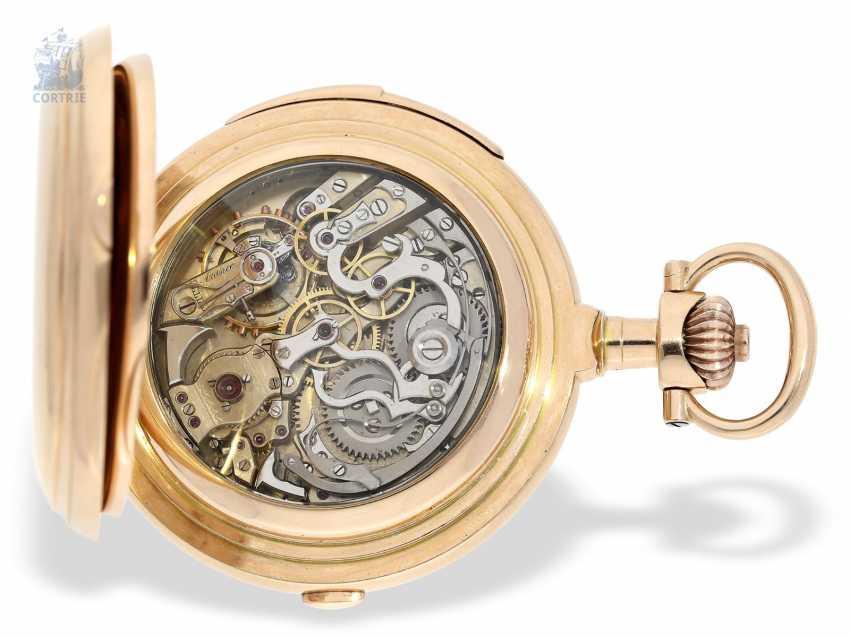 """Taschenuhr: bedeutende Le Coultre Goldsavonnette mit Le Coultre Zertifikat, """"Grande Complication """" 1st Quality"""" mit 8 Komplikationen, verm. Originalbox, ac 1895 - photo 8"""