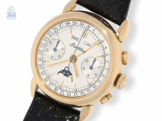 """Watch: Breitling rarity, almost new, large 18K strap with a rose gold """"Datora""""Chronograph with moon phase Ref. 1939, limited to 50 pieces worldwide. in 1980, with certificate - photo 1"""