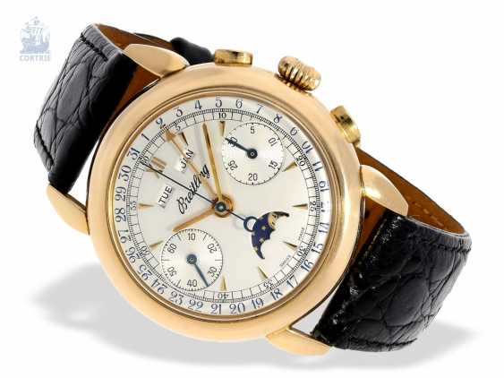 """Watch: Breitling rarity, almost new, large 18K strap with a rose gold """"Datora""""Chronograph with moon phase Ref. 1939, limited to 50 pieces worldwide. in 1980, with certificate - photo 5"""