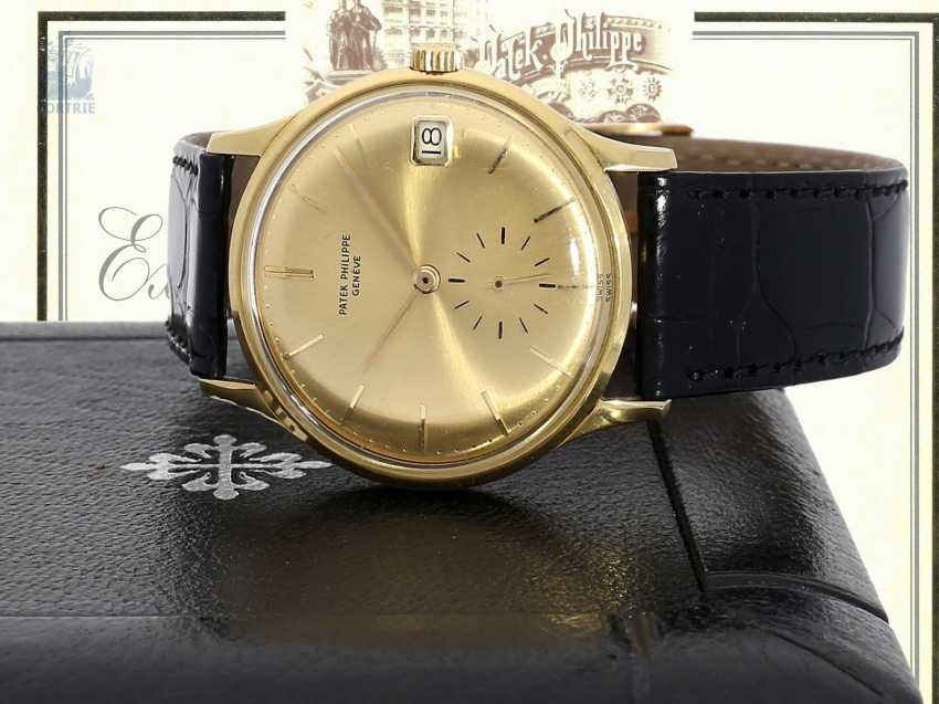"""Watch: rare automatic, Patek Philippe mens watch Ref.3514 with original special dial """"3445 Yellow"""", Patek Philippe Box and trunk book excerpt, Geneva, 1965 - photo 1"""