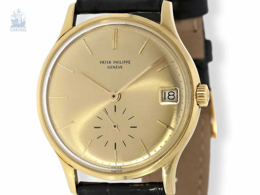 """Watch: rare automatic, Patek Philippe mens watch Ref.3514 with original special dial """"3445 Yellow"""", Patek Philippe Box and trunk book excerpt, Geneva, 1965 - photo 7"""