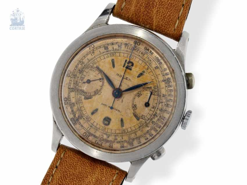 "Watch: in the past, Rolex Chronograph utmost rarity, Ref.2508 ""37.2 mm-oversize"" Antimagnetic with original ""Salmon Dial"" No. 034537, CA. 1935 - photo 1"