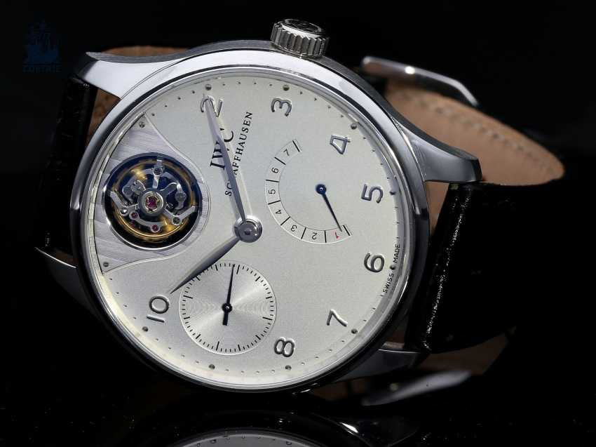 "Watch: extremely rare IWC men's watch, ""Portuguese Tourbillon Mystère Platinum"", Ref. 5042, limited Edition No. 47/50, probably barely used, with Box & papers - photo 1"
