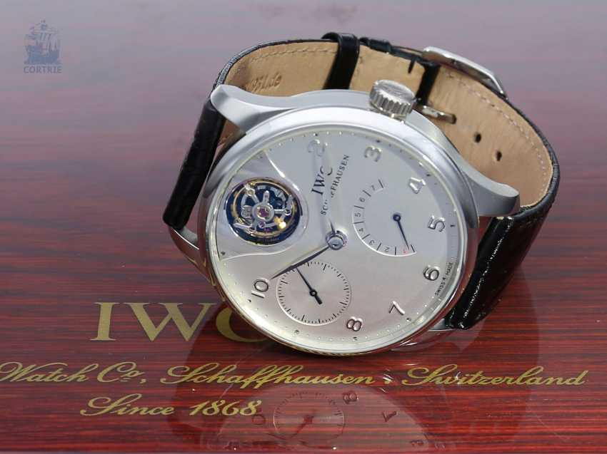 "Watch: extremely rare IWC men's watch, ""Portuguese Tourbillon Mystère Platinum"", Ref. 5042, limited Edition No. 47/50, probably barely used, with Box & papers - photo 2"