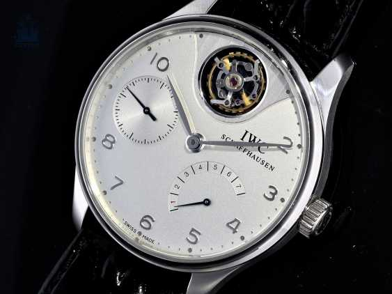 "Watch: extremely rare IWC men's watch, ""Portuguese Tourbillon Mystère Platinum"", Ref. 5042, limited Edition No. 47/50, probably barely used, with Box & papers - photo 5"