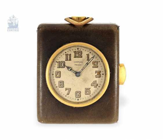 "Carriage clock: very rare miniature carriage clock with repeater, ""Pendulette de Voyage a Repetition"", Cartier Paris, No. 124368 - photo 1"