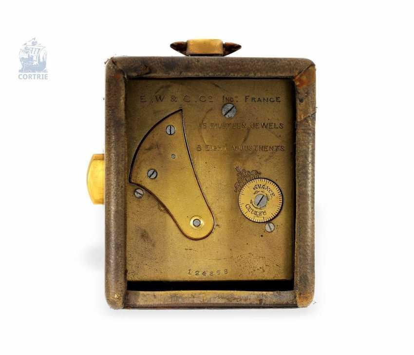 "Carriage clock: very rare miniature carriage clock with repeater, ""Pendulette de Voyage a Repetition"", Cartier Paris, No. 124368 - photo 2"