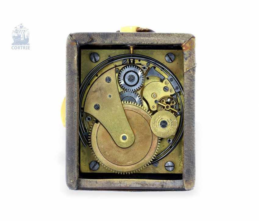 "Carriage clock: very rare miniature carriage clock with repeater, ""Pendulette de Voyage a Repetition"", Cartier Paris, No. 124368 - photo 3"