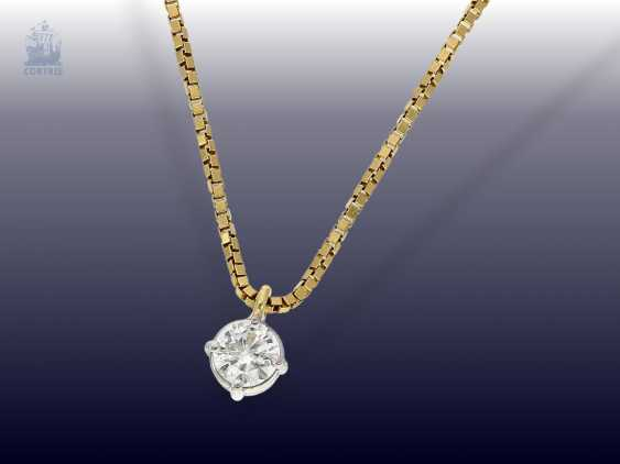 Chain/necklace: delicate gold chain necklace with diamond/solitaire-pendants, approx 0,37 ct - photo 1