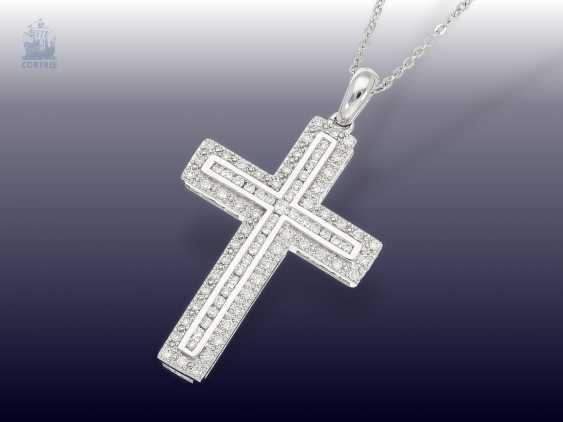 Chain/necklace: modern cross pendant with a rich, brilliant edging and fine white gold chain - photo 1