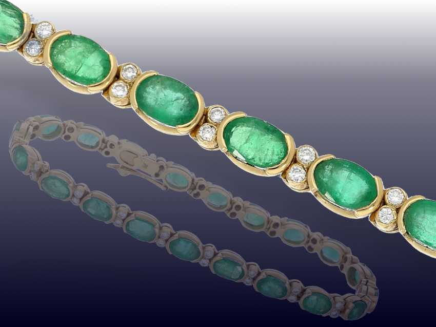 Bracelet: very nice vintage emerald/brilliant-gold forged bracelet - photo 1