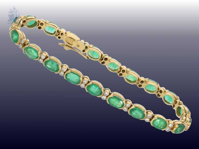 Bracelet: very nice vintage emerald/brilliant-gold forged bracelet - photo 2