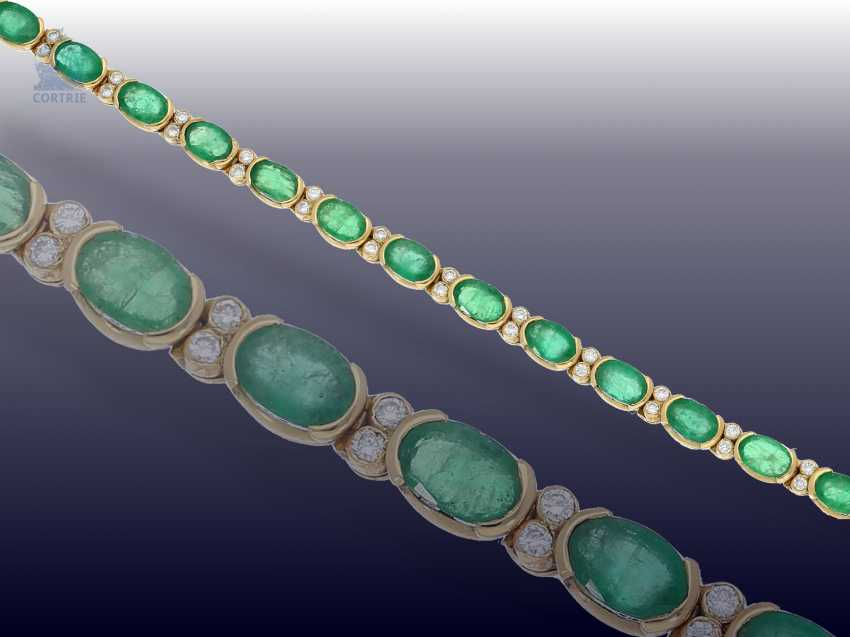 Bracelet: very nice vintage emerald/brilliant-gold forged bracelet - photo 3