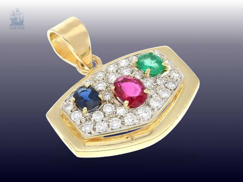 Pendant: a decorative gold wrought pendant with high quality color stones and diamond trimming - photo 1