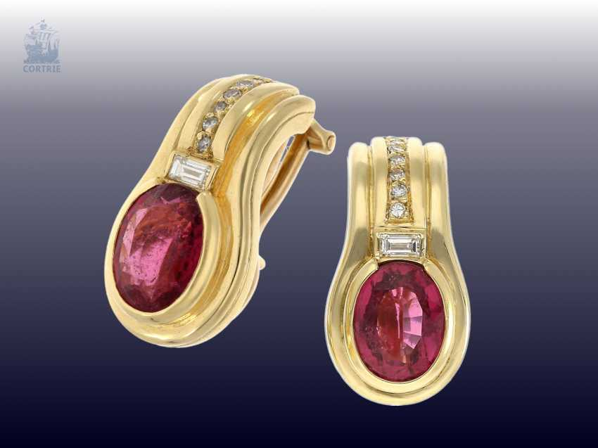 Earrings: Golden tourmaline/diamond stud earrings, crafted from 18K Gold - photo 1