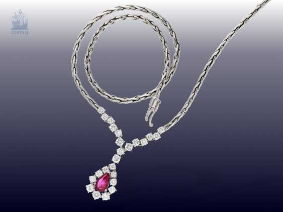 Chain/necklace: elegant, white gold vintage ruby/brilliant gold wrought necklace, handmade,18K white gold - photo 2