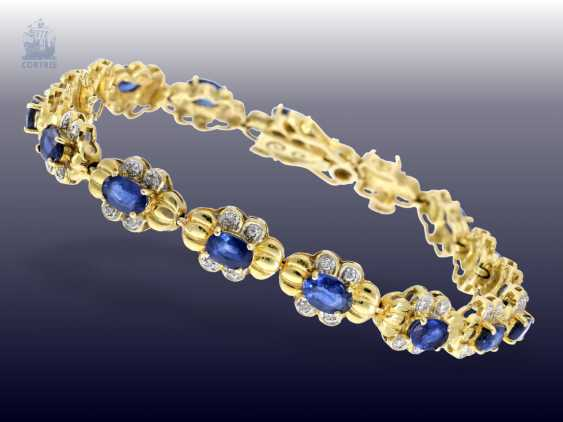 Bracelet: attractive vintage sapphire/diamond gold forged bracelet, fine Ceylon sapphires - photo 1