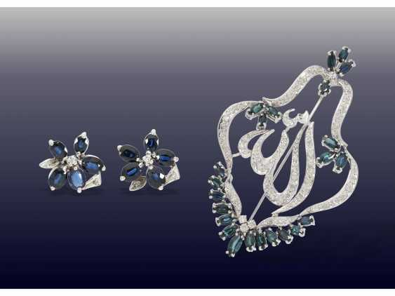Brooch/pendant/earrings: large and very decorative vintage sapphire/diamond brooch with matching earrings - photo 1