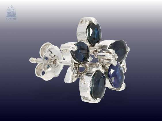 Brooch/pendant/earrings: large and very decorative vintage sapphire/diamond brooch with matching earrings - photo 2