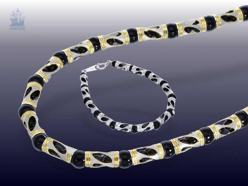 Chain/necklace/bracelet: fancy Onyx Set necklace and bracelet in 18K - photo 1