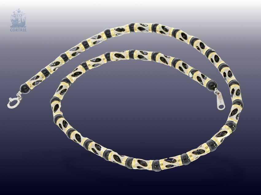 Chain/necklace/bracelet: fancy Onyx Set necklace and bracelet in 18K - photo 2