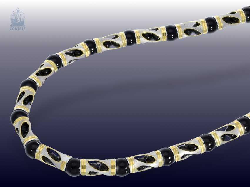 Chain/necklace/bracelet: fancy Onyx Set necklace and bracelet in 18K - photo 4