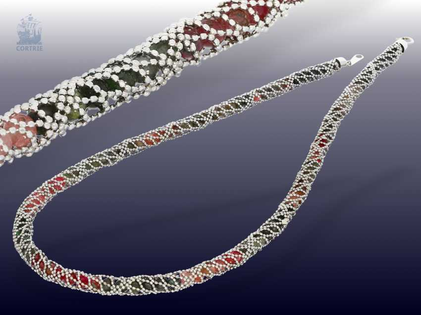 """Chain/necklace: fancy """"garter""""necklace in 18K white gold - photo 1"""