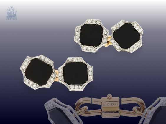 Cufflinks: fine Art Deco cufflinks with Onyx and diamonds - photo 1