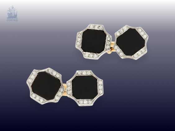 Cufflinks: fine Art Deco cufflinks with Onyx and diamonds - photo 4