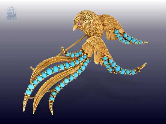 "Brooch:beautiful and rare vintage turquoise/ruby-gold brooch, exceptional gold work ""bird of Paradise"", probably France, wrought from the 50s/60s - photo 1"