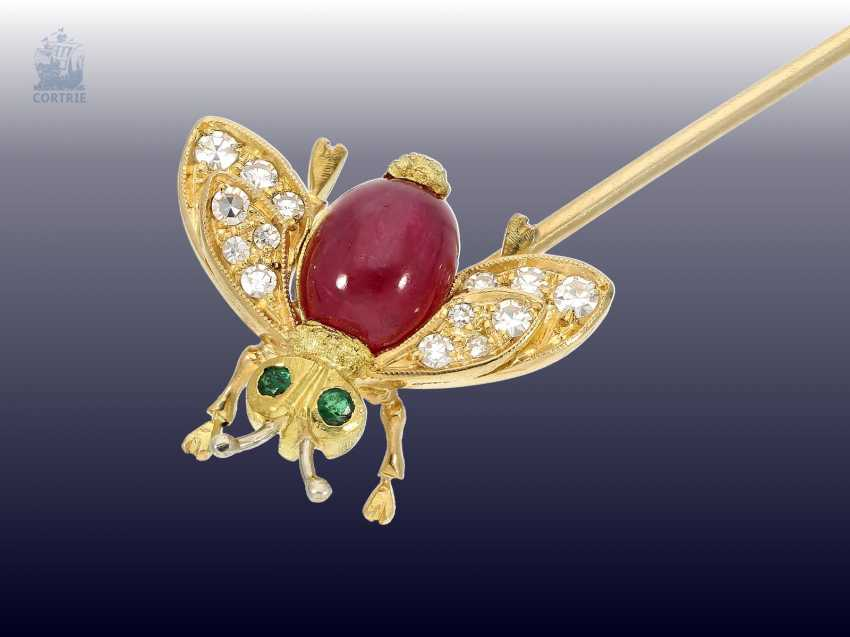"""Brooch: interesting and unusual vintage tie clip, subject """"insect"""" with color stones and diamonds, hand work - photo 1"""