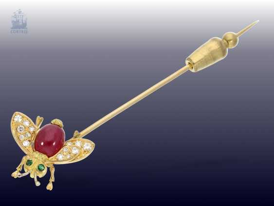 """Brooch: interesting and unusual vintage tie clip, subject """"insect"""" with color stones and diamonds, hand work - photo 2"""