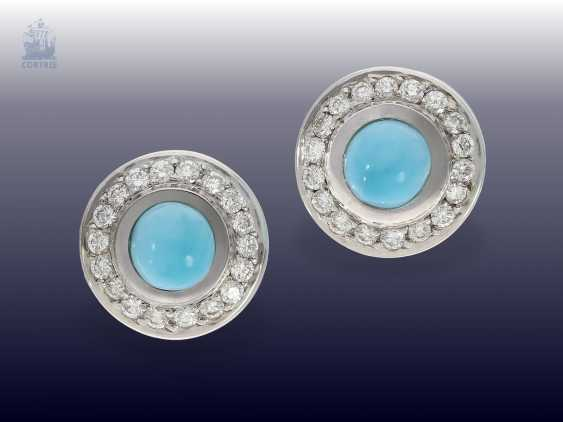 Earrings: beautiful vintage Larimar/brilliant stud earrings, high quality gold work - photo 2