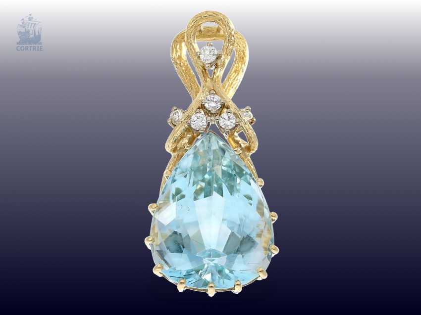 Pendant: highly decorative, and formerly very expensive aquamarine/brilliant-gold forged pendant - photo 1