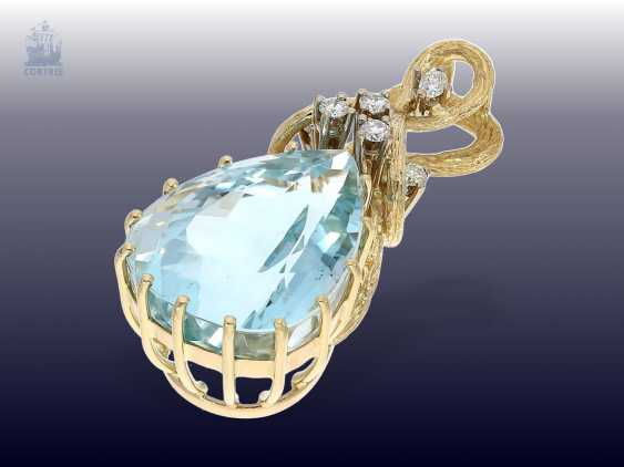 Pendant: highly decorative, and formerly very expensive aquamarine/brilliant-gold forged pendant - photo 2
