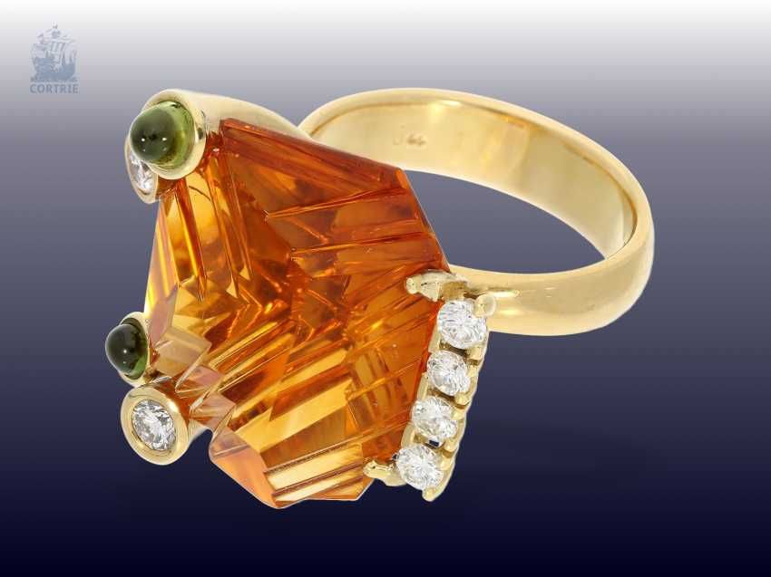 Ring: exclusive Designer-wrought gold ring with a large, bright Madeira citrine,tourmalines and brilliant-cut diamonds, modern hand-made of 18K Gold - photo 1