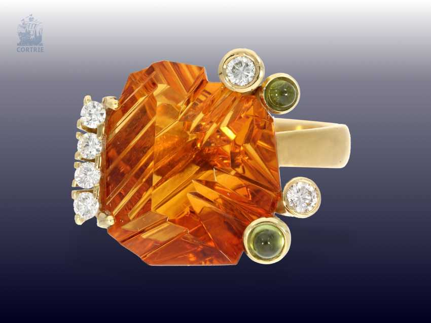 Ring: exclusive Designer-wrought gold ring with a large, bright Madeira citrine,tourmalines and brilliant-cut diamonds, modern hand-made of 18K Gold - photo 2