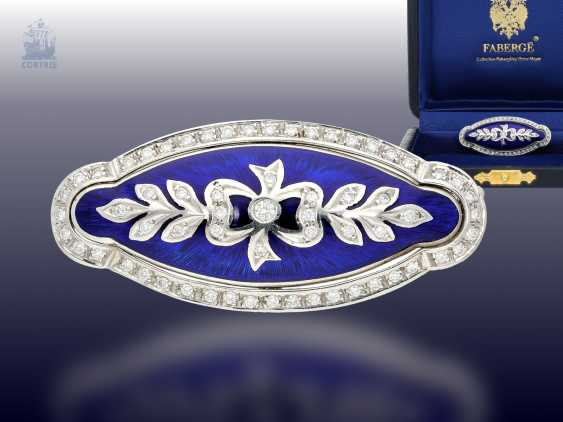Brooch: a decorative, exquisite limited-edition Fabergé brooch with brilliant trim, limited to 300 copies, no longer available, mint with Box , certificate & label, NP 8300,-€ - photo 1