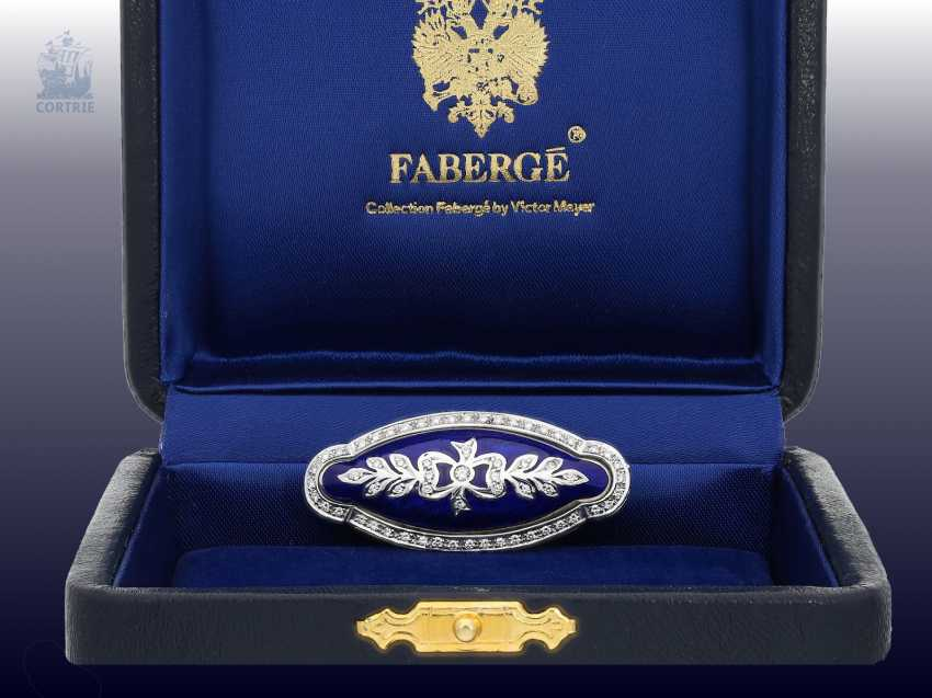 Brooch: a decorative, exquisite limited-edition Fabergé brooch with brilliant trim, limited to 300 copies, no longer available, mint with Box , certificate & label, NP 8300,-€ - photo 2