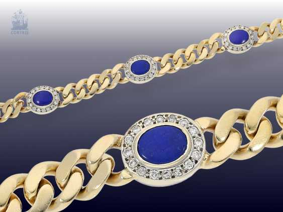 Strap / bracelet: solid curb bracelet with lapis lazuli and brilliant crews - photo 1