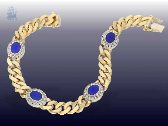 Strap / bracelet: solid curb bracelet with lapis lazuli and brilliant crews - photo 2
