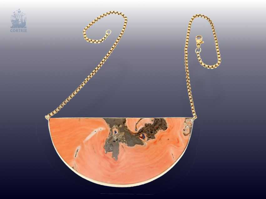 Chain/necklace: unique and very decorative vintage gold necklace with huge coral-Segment - photo 2