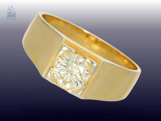 Ring: vintage diamond/solitaire-gold forged ring, fine brilliant light yellow/ SI, at least 1ct - photo 1