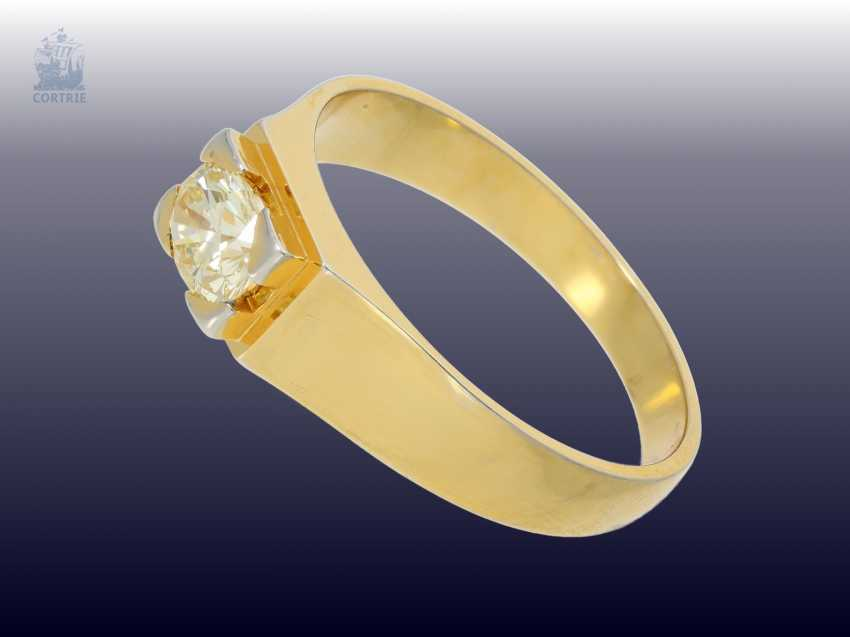 Ring: vintage diamond/solitaire-gold forged ring, fine brilliant light yellow/ SI, at least 1ct - photo 2