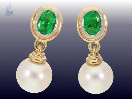 Earrings: vintage gold work with pearls as well as fine emeralds, probably Geneva-80s - photo 1