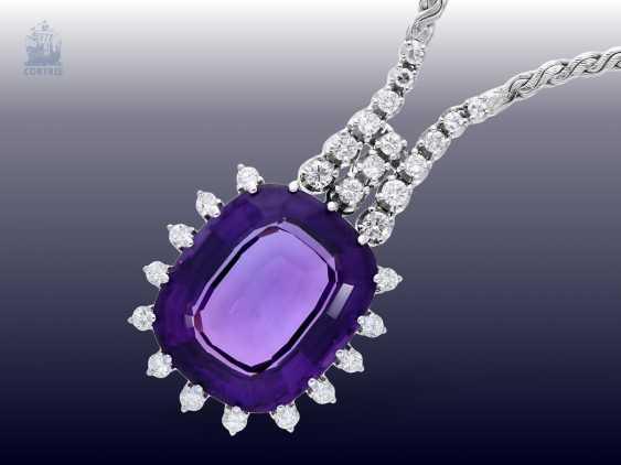 Necklace/Collier: high-quality and very decorative vintage Amethyst/brilliant-wrought gold necklace - photo 1