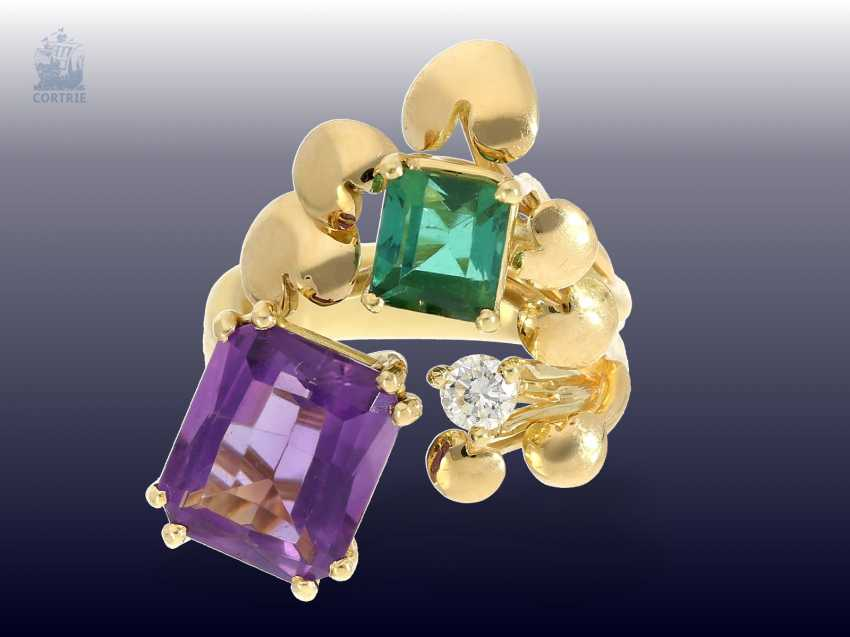 Ring: attractive and striking vintage Amethyst/tourmaline/Brillant-design ring, beautiful gold work - photo 1
