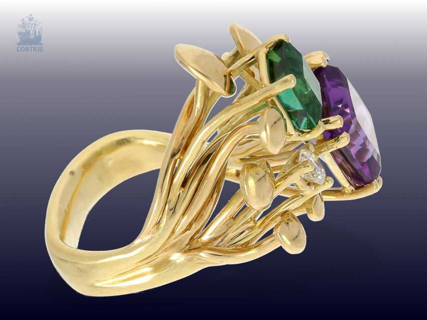 Ring: attractive and striking vintage Amethyst/tourmaline/Brillant-design ring, beautiful gold work - photo 2