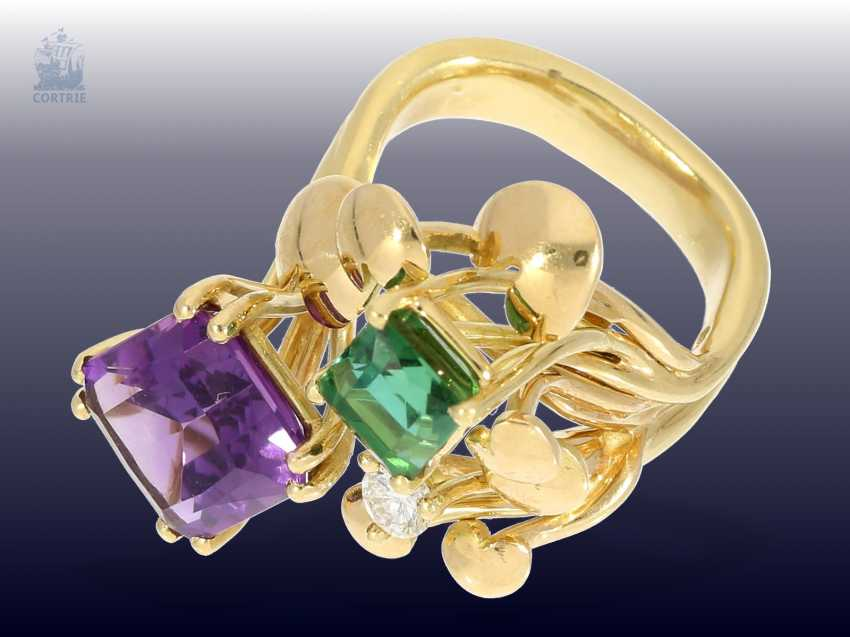 Ring: attractive and striking vintage Amethyst/tourmaline/Brillant-design ring, beautiful gold work - photo 3